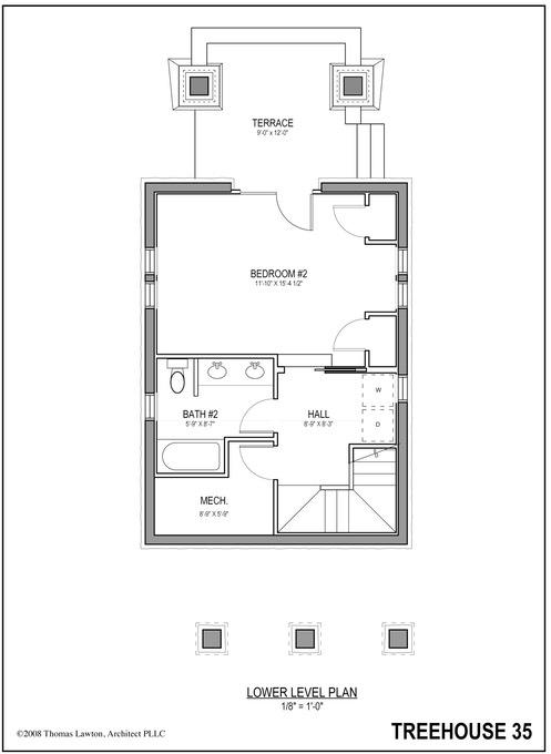 Tree house floor plans Custom Built 0614 Treehouse 35 Lfp Thomas Lawton Architect Lower Floor Plan Thomas Lawton Architect