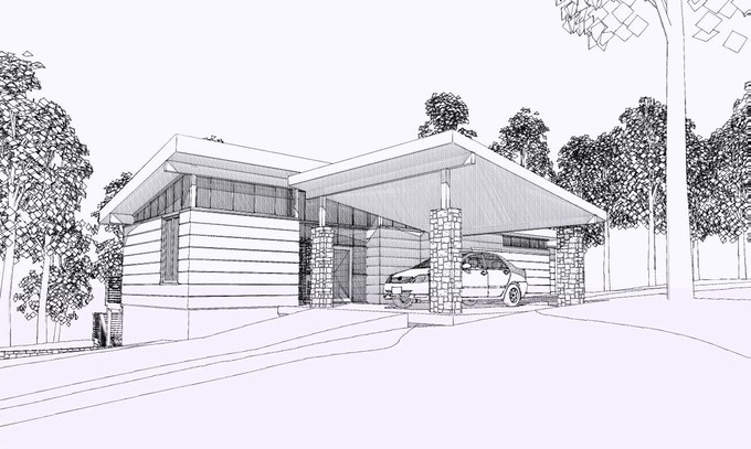 Carport and front entrance thomas lawton architect for House plans with carport in back